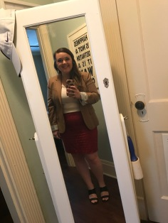 J. Crew camel blazer and red eyelet skirt and Old Navy white blouse