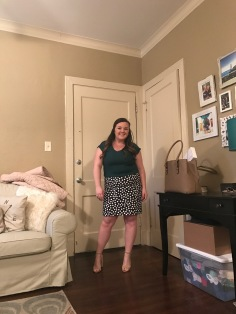 Express v-neck blouse and J. Crew polka dot skirt