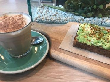 Bluestone Lane avo toast and a chia latte...