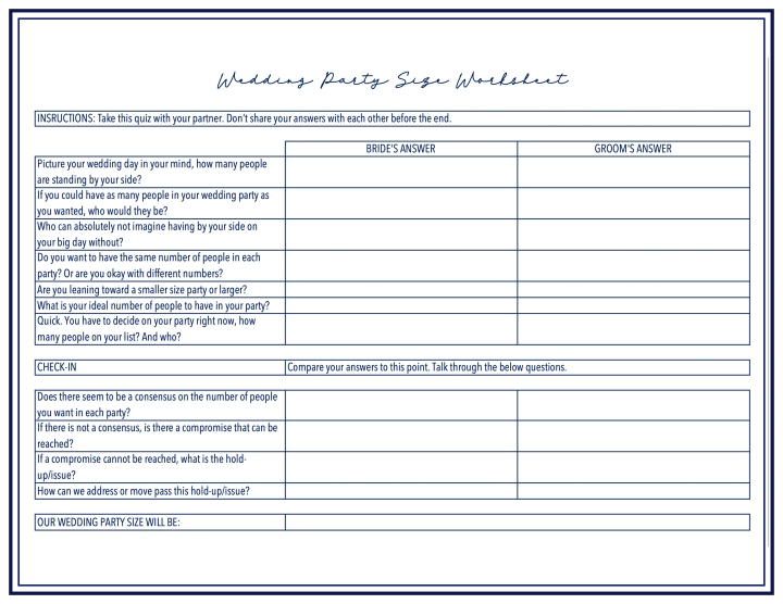 Graphic - Wedding Party Size Worksheet